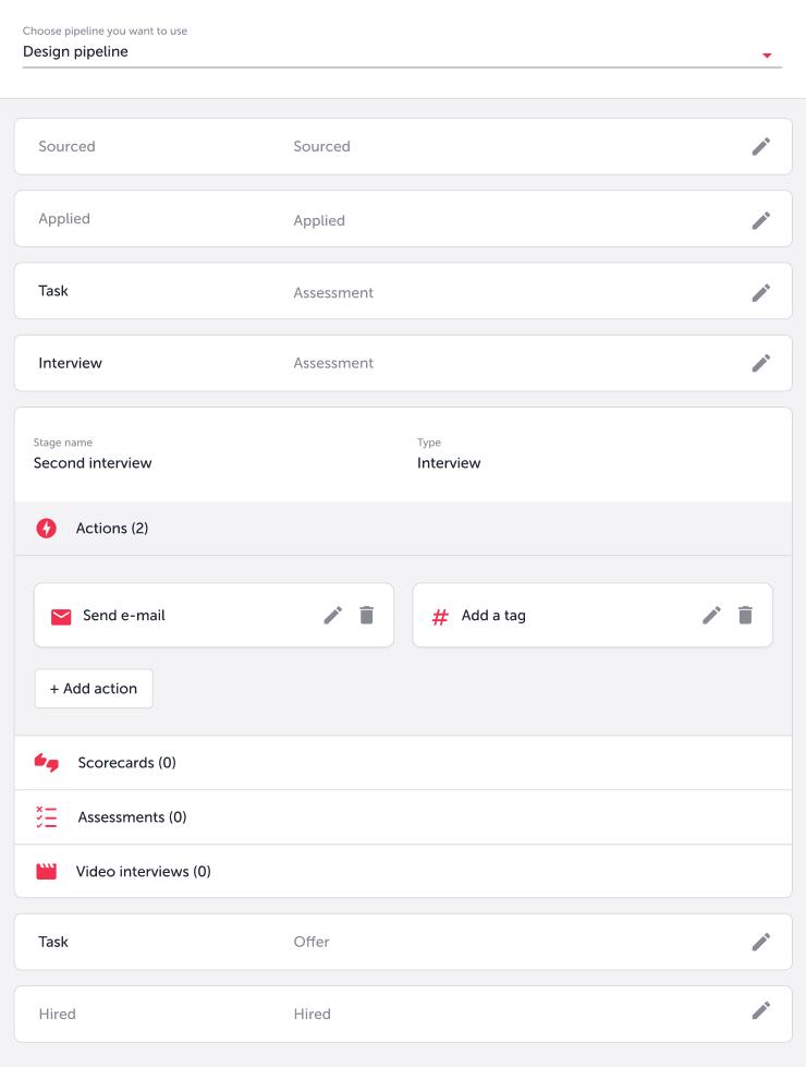 design pipeline in TalentLyft