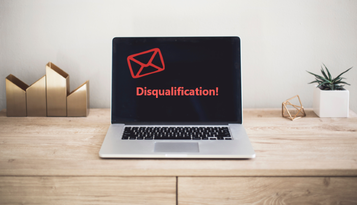 automatic disqualification email template
