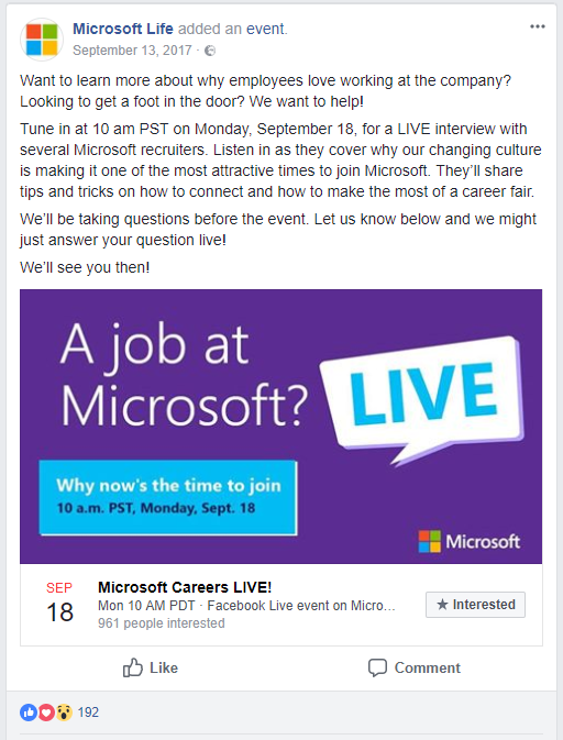 live Facebook event fro generating leads in recruiting