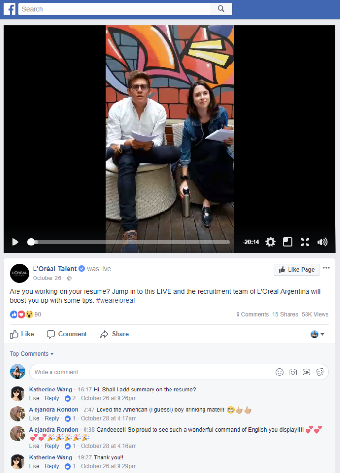 Hiring Facebook video